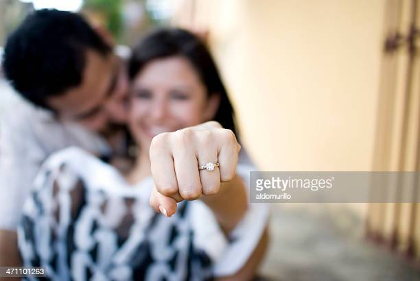 woman showing off her engagement ring
