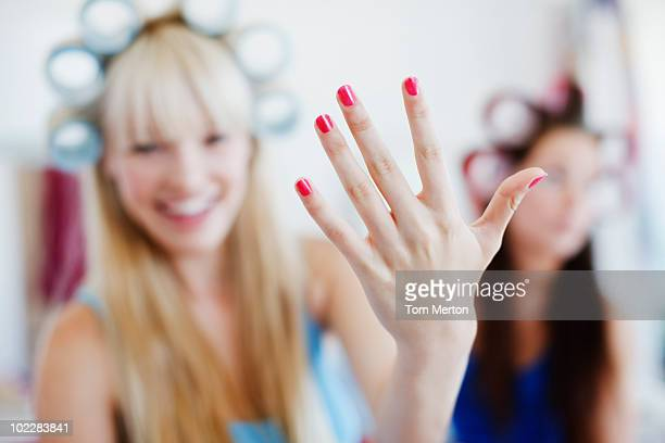 Woman showing off manicure