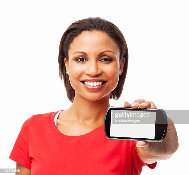 Woman Showing Smart Phone With Blank Screen - Isolated