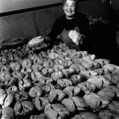 A woman showing some foies gras on December 30 1948 in Souillac France