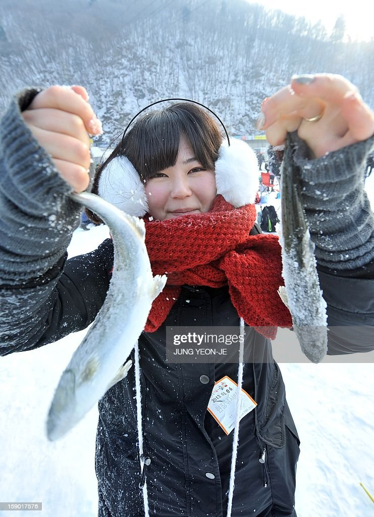 A woman shows fishes caught through holes created in the surface of a frozen river during an ice fishing contest in Hwacheon, 120 kilometers northeast of Seoul, on January 6, 2013. The contest is part of an annual ice festival which draws over 1,000,000 visitors every year.