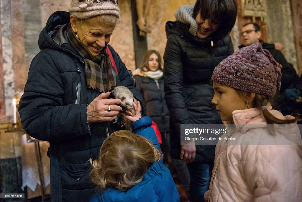A woman shows her pet ferret to children during a traditional mass for the blessing of animals at the Sant'Eusebio church on January 20, 2013 in Rome, Italy. Every year during the feast of St. Anthony the Abbot animals are blessed in countries around the world.