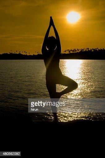 Woman Silhouette sea : Stock Photo