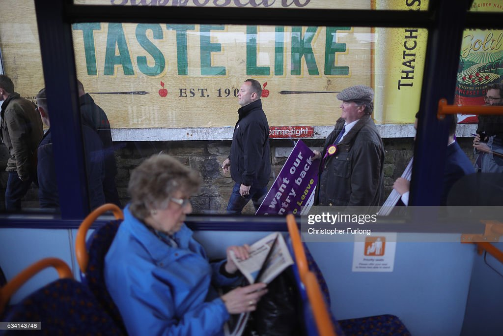 A woman sits on a bus as Vote Leave supporters follow UKIP leader Nigel Farage during campaigning for votes to leave the European Union on May 25, 2016 near Sheffield, England. Nigel Farage took his battle bus to Chapeltown, near Sheffield, encouraging British people to vote to leave the EU in the June 23rd referendum.