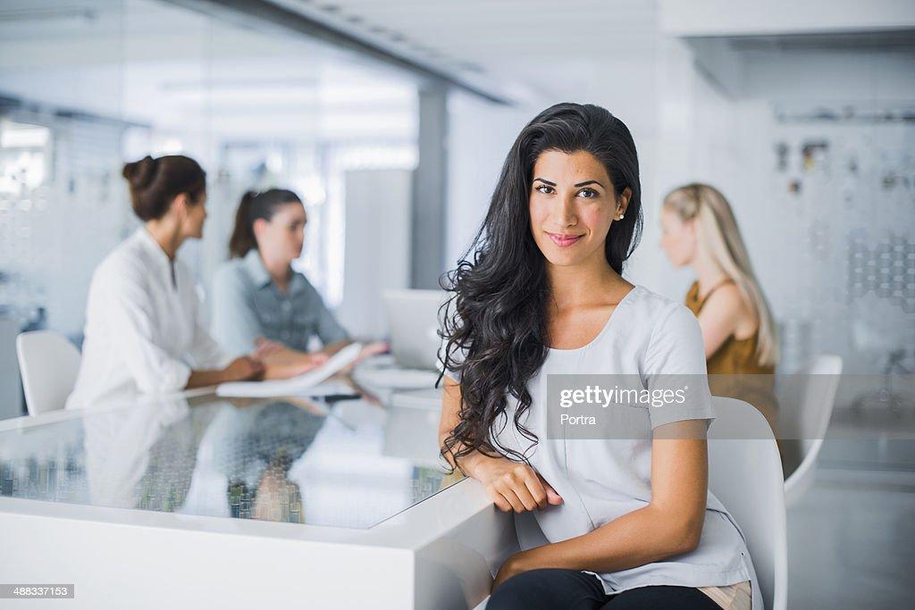 Woman sitting at desk
