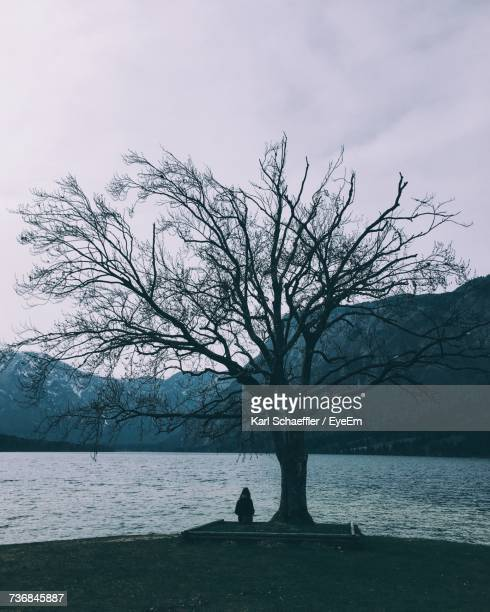 Woman Sitting By Bare Tree At Shore Of Lake Bohinj Against Mountains