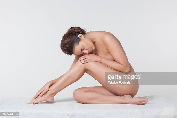 Woman sitting in a spa