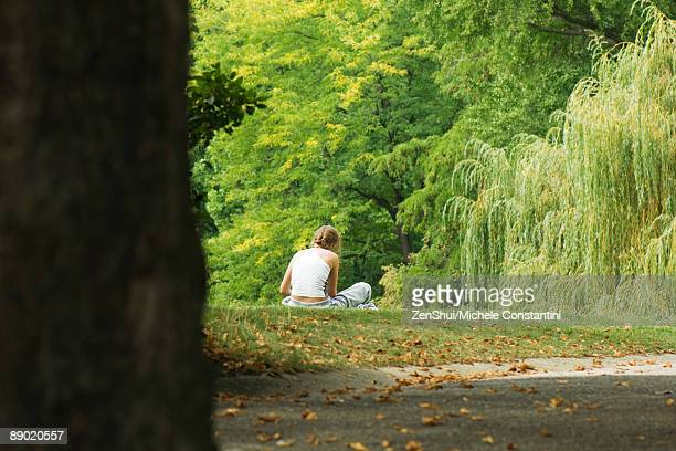 Woman sitting in park, rear view