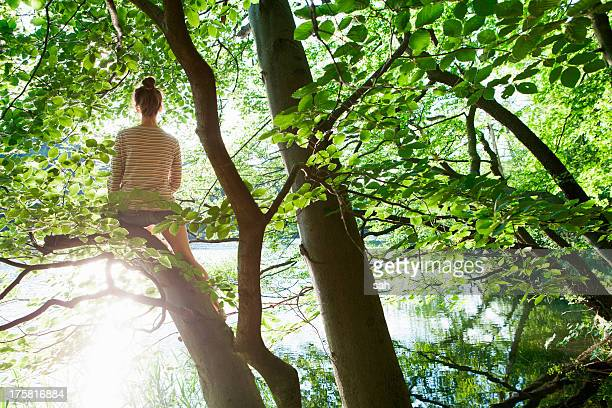 Woman sitting in tree