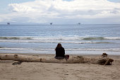 Woman sitting on a log on beach