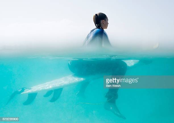 Woman sitting on her surfboard
