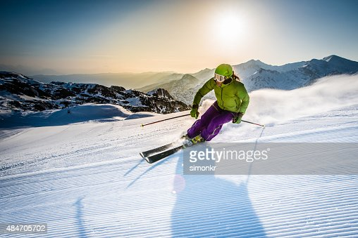 Woman skiing downhill