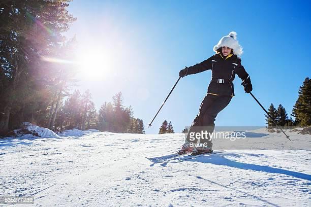 Woman skiing.