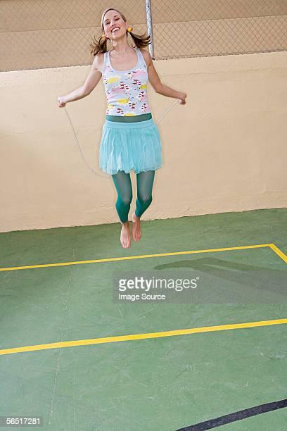 Woman skipping