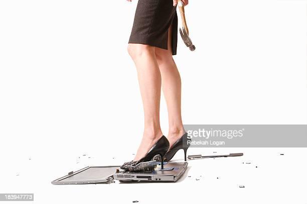 Woman smashing computer