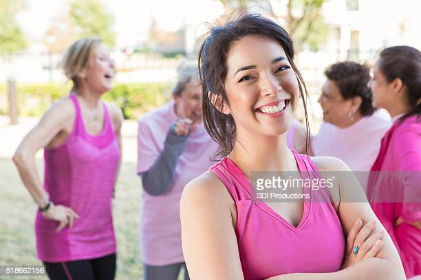 Woman smiles at charity race