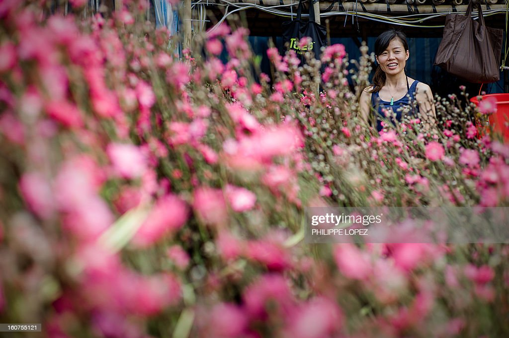 A woman smiles next to blossoms at a Chinese New Year fair in Hong Kong on February 5, 2013. The Chinese New Year festival falls on February 10, 2013. AFP PHOTO / Philippe Lopez