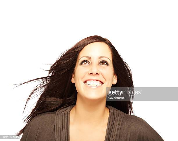 Woman Smiling and Looking Up