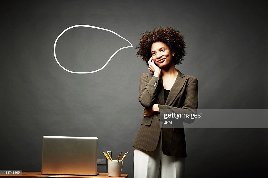 Woman smiling and speechless