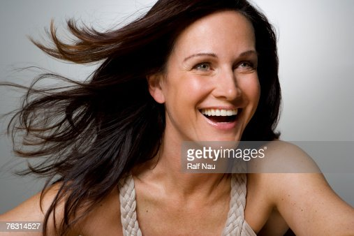 Woman smiling, close-up : Stock-Foto