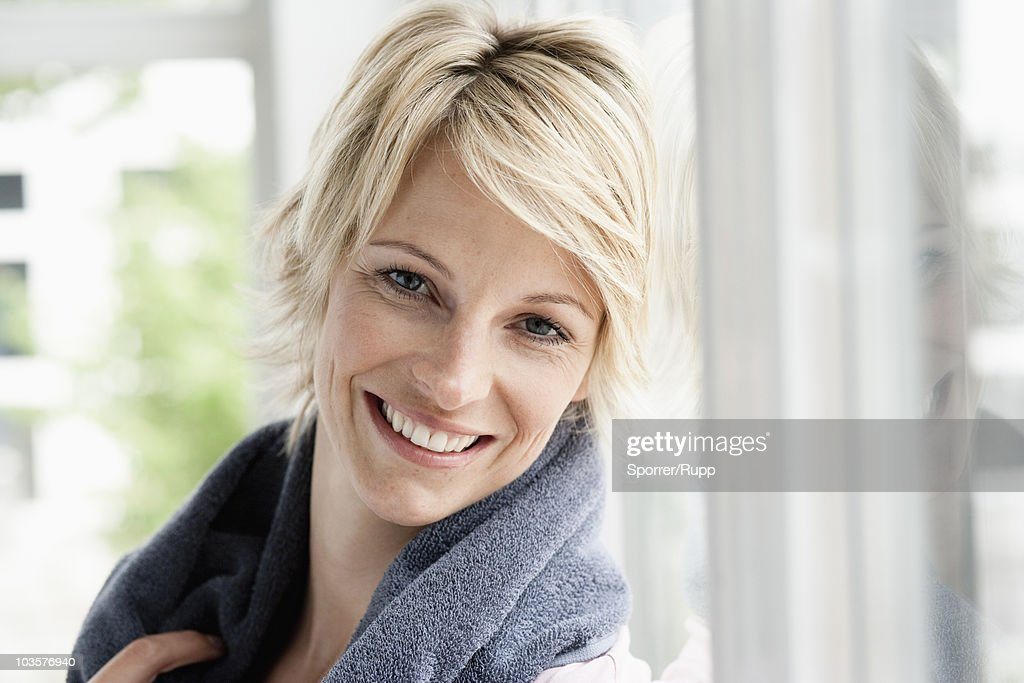 Woman smiling to camera
