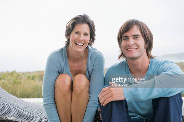 Woman smiling with her son