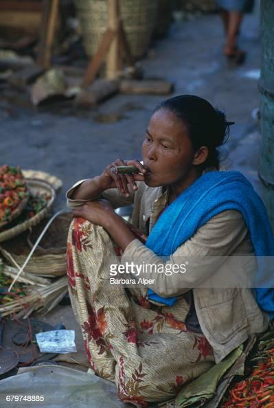 A woman smoking a cheroot in Taunggyi Burma February 1988