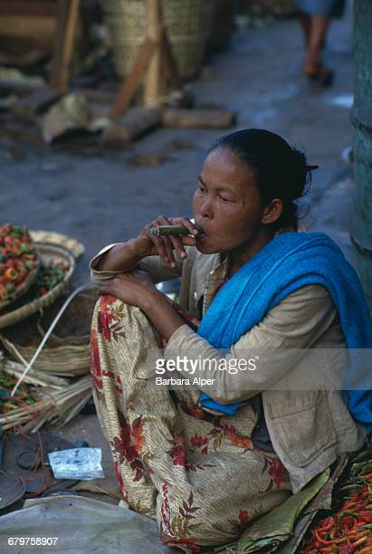 A woman smoking a cheroot in Taunggyi Burma February 1988