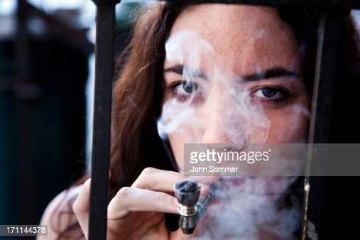 Woman smoking pot