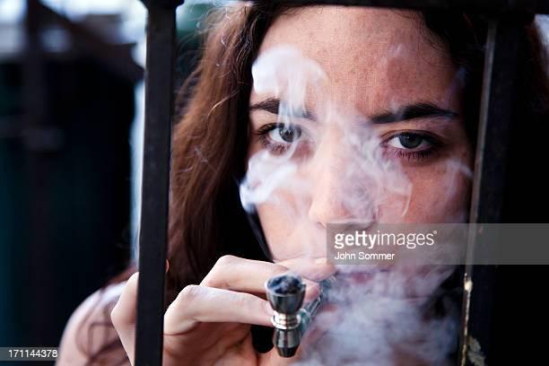 Woman smoking pot
