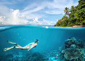 Woman swims around a coral reef surrounded by a multitude of fish.