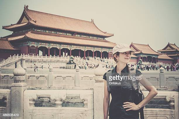 Woman Solo Traveller Visiting a Temple in China