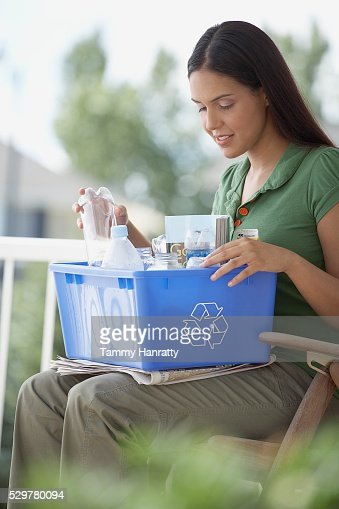 Woman sorting recycling : Stock Photo