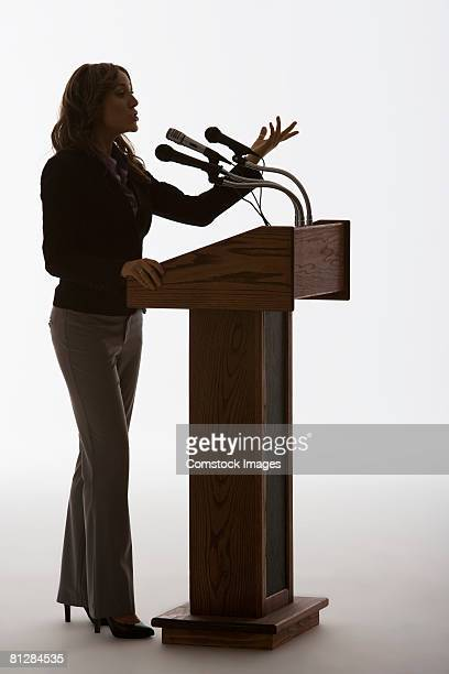 Woman speaking from podium