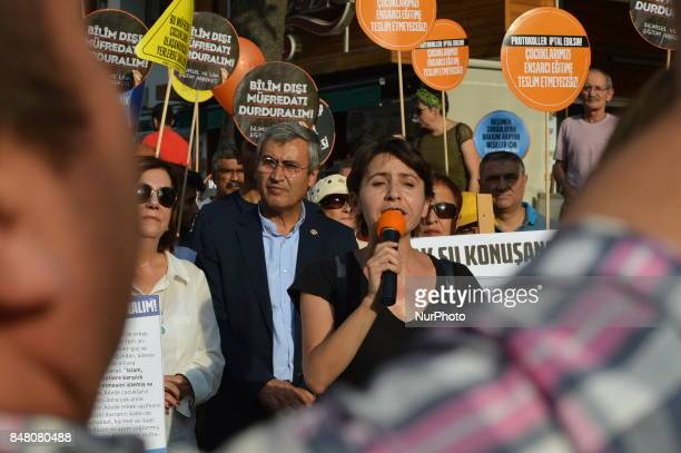 A woman speaks as people protest against the Turkish government's new education policies in Ankara Turkey on September 16 2017 The Turkish government...