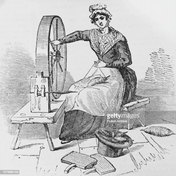 A woman spinning yarn at a spinning wheel circa 1800