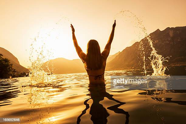 Woman Splashing Water