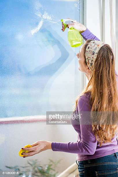 Woman Spraying Cleaning Fluid on Windows, Copy Space