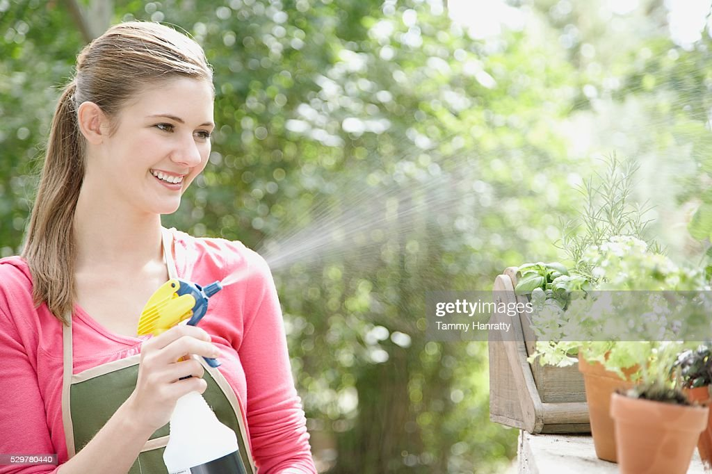Woman spraying plants : Foto stock