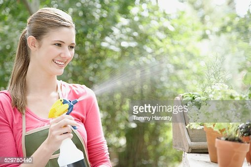 Woman spraying plants : Stock Photo