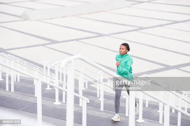 Woman stairs exercising.