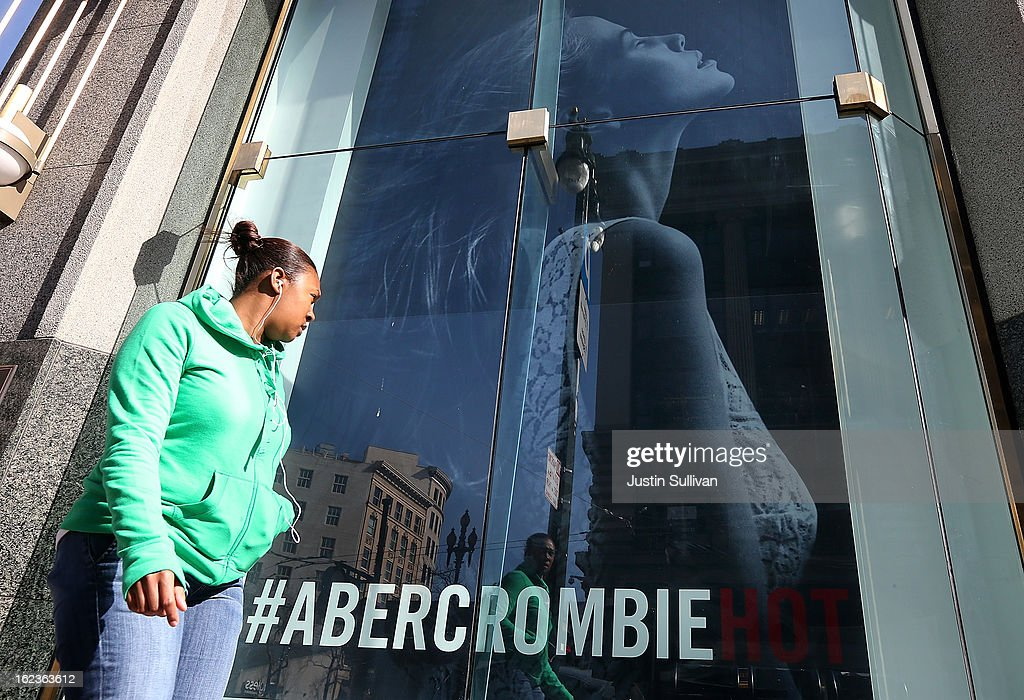 A woman stand near an Abercrombie and Fitch store on February 22, 2013 in San Francisco, California. Clothing retailer Abercrombie and Fitch reported a surge in fourth quarter revenue with earnings of $157.2 million, or $1.95 per share compared to $45.8 million, or 52 cents per share one year ago.