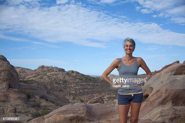 Woman standing at Vazquez Rocks with hands on hips