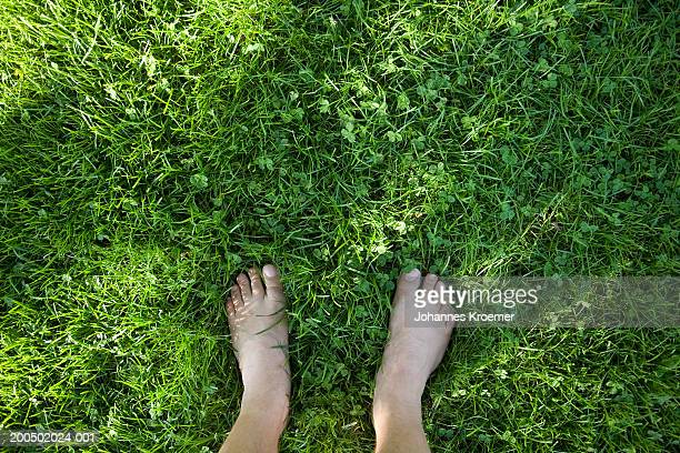 Woman standing barefoot on grass, low section