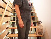 Woman standing beside pug on stairway, mid section (focus on pug)