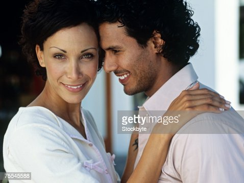 Woman standing close to man,close up : Stock Photo
