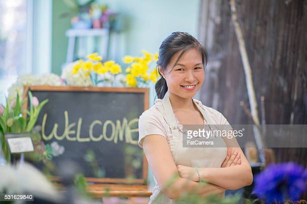 Woman Standing in Her Flower Shop