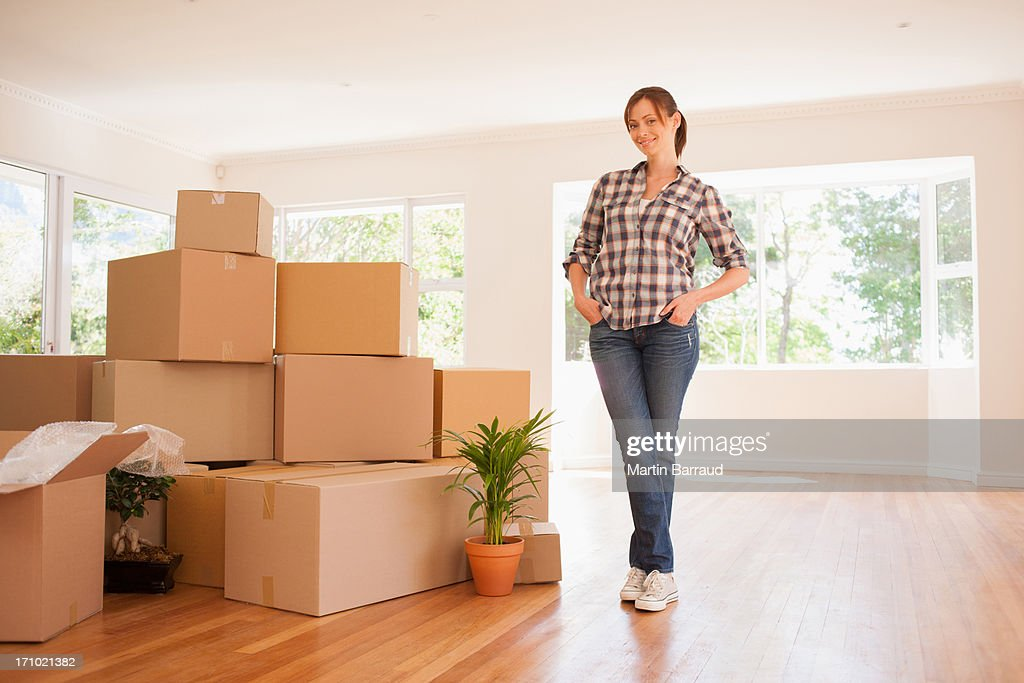 Woman standing new house