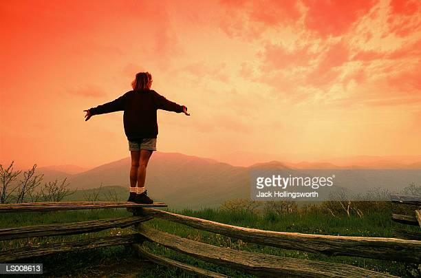 Woman Standing on a Fence