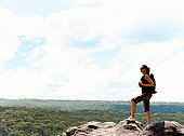 Woman Standing on a Mountain Summit Looking at View